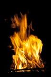 高在火炉的火焰灼烧的木头 库存图片