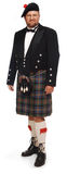 高地居民苏格兰男用短裙白色 免版税库存照片