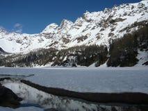 高地的高山河 在春天的解冻 免版税库存图片