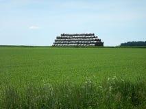高堆在一个绿色领域的干草股票 免版税库存图片