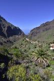 高处的传统Masca村庄在山,特内里费岛 库存图片