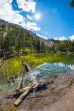 高处蓝色湖在田园诗未污染的环境里用干净和透明水 夏天冒险在意大利Fr 免版税库存照片