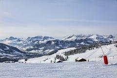 高处滑雪领域 免版税库存照片
