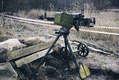 高射炮,在第二次世界大战期间的地道机枪 库存照片
