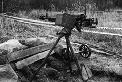 高射炮,在第二次世界大战期间的地道机枪 免版税库存照片