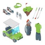 高尔夫俱乐部传染媒介3d等量象和设计元素集 高尔夫车、球、俱乐部、袋子和衣裳平的例证 向量例证