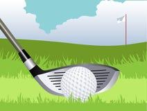 高尔夫俱乐部和球 免版税库存照片
