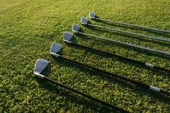 高尔夫俱乐部在绿色象草的领域安排了 库存照片