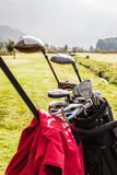 高尔夫俱乐部被设置的细节 库存照片