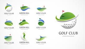 高尔夫俱乐部象、标志、元素和商标汇集 库存例证