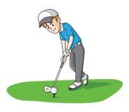 高尔夫球人滑稽的动画片 图库摄影