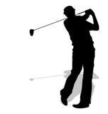 高尔夫球体育剪影 免版税库存图片