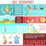 高尔夫球体育Infographic减速火箭的动画片海报 皇族释放例证
