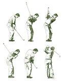 高尔夫球例证球员显示的阶段 免版税库存图片