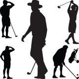 高尔夫球剪影向量 库存照片