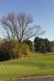 高尔夫球区在秋天 库存照片