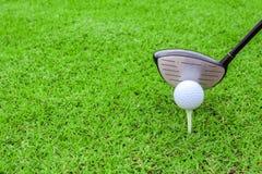 高尔夫球发球区域在准备对sho的绿草路线的球俱乐部司机 库存照片