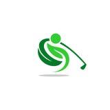 高尔夫球叶子人传染媒介商标 图库摄影
