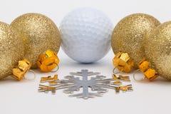 高尔夫球和圣诞节装饰 库存图片