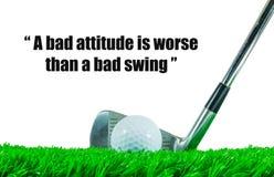 高尔夫球和铁俱乐部和行情 免版税库存照片