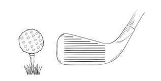 高尔夫球和高尔夫俱乐部的剪影 免版税库存照片