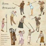 高尔夫球和高尔夫球运动员-手拉的葡萄酒组装 徒手画速写 免版税图库摄影