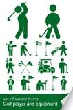 高尔夫球图标集 库存照片