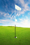高尔夫球场在一美好的天 高尔夫球在孔附近 图库摄影