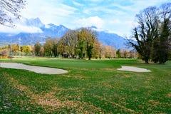 高尔夫球场坏Ragatz,瑞士 免版税图库摄影