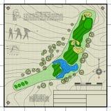 高尔夫球场布局图纸图画 免版税库存照片