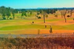 高尔夫球场掀动转移 图库摄影