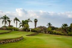 高尔夫球场的高尔夫球运动员在特内里费岛 免版税库存图片