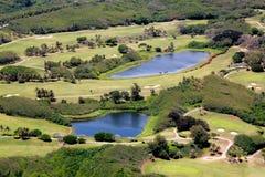 高尔夫球场的鸟瞰图,塞班岛,北马里亚纳群岛 免版税库存照片