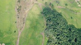 高尔夫球场的鸟瞰图 股票录像