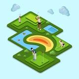 高尔夫球场领域概念 平的3d isometry isomet 库存图片