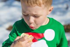 高尔夫球外套的男孩吃在自然的一个苹果在冬天 免版税库存照片