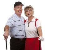 高尔夫球夫妇 免版税库存图片