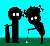 高尔夫球夫妇 免版税库存照片