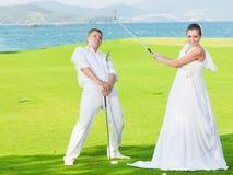 高尔夫球婚礼 免版税库存照片