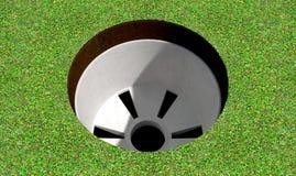 高尔夫球孔和绿色 库存图片