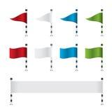 高尔夫球旗子和横幅集合 库存图片