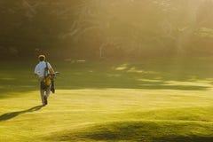 高尔夫球日落 免版税库存照片