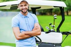 高尔夫球是我喜爱的比赛! 库存照片
