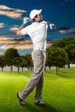 高尔夫球查出的球员射击工作室 库存照片