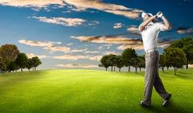 高尔夫球查出的球员射击工作室 库存图片