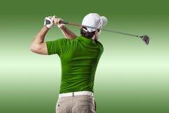 高尔夫球查出的球员射击工作室 免版税库存图片