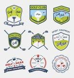 高尔夫球棒,高尔夫球冠军、高尔夫球齿轮和设备证章商标 库存例证