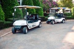 高尔夫球汽车准备好服务在庭院里 免版税图库摄影