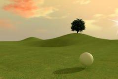 高尔夫球符合日落 免版税库存图片