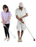 高尔夫球讲解 免版税库存图片